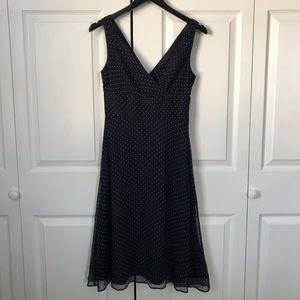 J. Crew Sophia silk chiffon navy polka dot dress